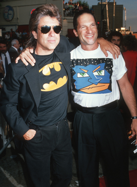 """Jon Peters and Peter Guber during """"Batman"""" Los Angeles Premiere at Mann Village theater in Westwood, California, United States. (Photo by Ron Galella, Ltd./WireImage)"""