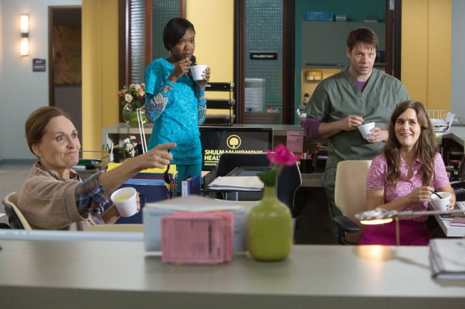 "THE MINDY PROJECT: The office welcomes back Mindy pictured L-R: (Beth Grant, Xosha Roquemore, Ike Barinholtz and Zoe Jarman) in the ""The Other Dr. L "" episode of THE MINDY PROJECT airing Tuesday, Sept. 24 (9:30-10:00 PM ET/PT) on FOX. ©2013 Fox Broadcasting Co. Cr: Beth Dubber/FOX"